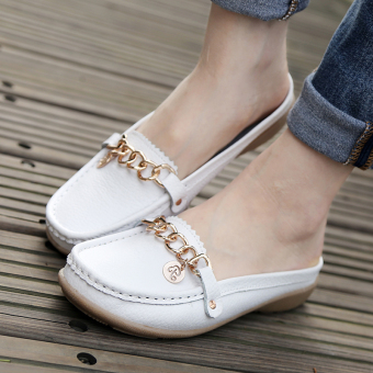 Home soft bottom Plus-sized slip maternity shoes slippers (White)