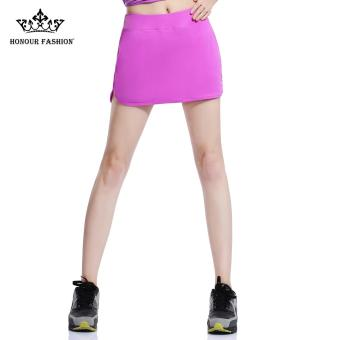 Honour Fashion Women's Flat Tennis Skort Hugging Skirt Purple hf04- intl