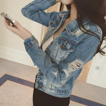Hooded Denim Jacket For Women Short Jeans Jacket Women Slim DenimCoat -Light blue - Intl