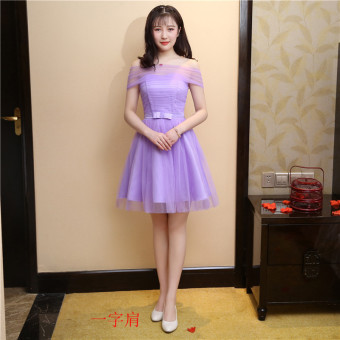 Hosted performances banquet small dress bridesmaid dress (Purple A-line shoulder) (Purple A-line shoulder)