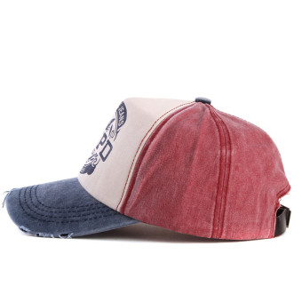 Hot Brand Cap Baseball Cap Fitted Hat Casual Cap Gorras 5 Panel Hip Hop Snapback Hats Wash Cap for Men Women(blue red) - intl - 5