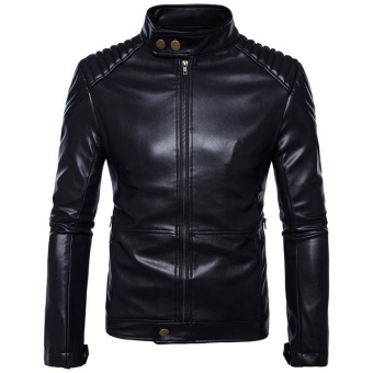 Hot Fashion Men's High-grade Can Be Washed Casual Slim Leather Jacket(black) - intl