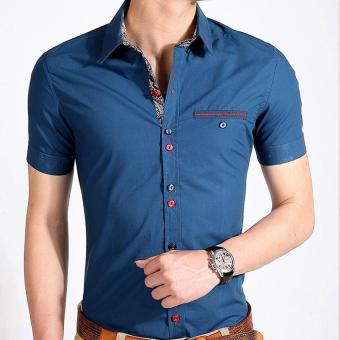 HOT Mens Dress Short Sleeve Men's Casual Shirt Slim Fit FormalCotton Cotton Camisa Shirt Social Men (Blue) - intl