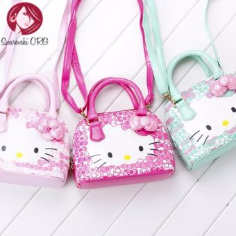 Hot new arrival Hello Kitty girl's princess Sequins bag walletpurse portable messenger children handbag(Deep Pink)