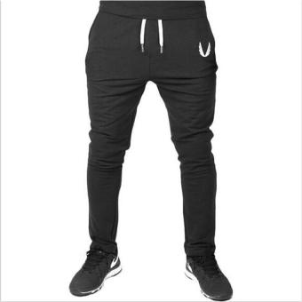 Hot Sale Men's Casual Elastic Pants Cotton Men's Fitness Workout Pants Skinny Sweat Pants Trousers Jogger Pants M(Black) - intl
