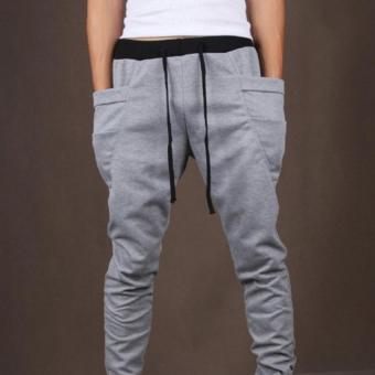 Hot Sale Men's Joggers Pants Casual Pants Cool Design Big Pocket Army Trousers Hip Hop Pants L(Deep Grey) - intl