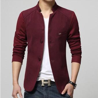 Hot Sale Men's Blazer Patchwork Suits for Men Top Quality RedBlazers Slim Fit Wool Outwear Coat Men's Costume Men's Blazer (Red)- intl