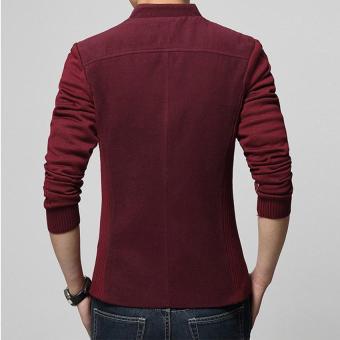 Hot Sale Men's Blazer Patchwork Suits for Men Top Quality RedBlazers Slim Fit Wool Outwear Coat Men's Costume Men's Blazer (Red)- intl - 3
