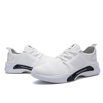 Hot Sale New Style Fly Weave Lower-Cut Running Shos Simple FashionPure Color Athleisure Walking Shoes for Man (white) - intl - 5
