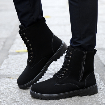 Hot Sell Retro Combat Boots Winter England-style Fashionable Men's Short Black Shoes Military Boots (Black) - intl