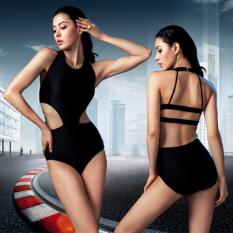 Hot Spring European and American one-piece high-waisted backless swimsuit