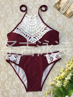 Hot Spring European and American solid color New style halter bikini (17078-wine red)