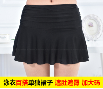 Hot Spring high waist big skirt Slimming effect swimming trunks (Black)