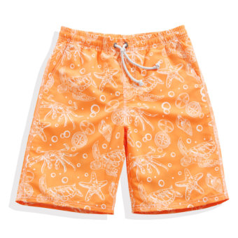 Hot Spring orange thin animal printed swimming trunks loose beach pants