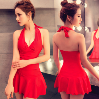 Hot Spring sexy piece skirt Type Steel prop swimsuit (Chinese red)
