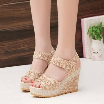 Hot style fashion career women wedge sandals fish mouth thick bottom lace sponge with summer new Velcro for women's shoes - intl - 2