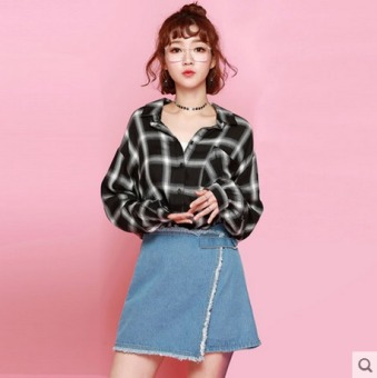 HSTYLE hh7305 Korean-style New style slimming base plaid shirt
