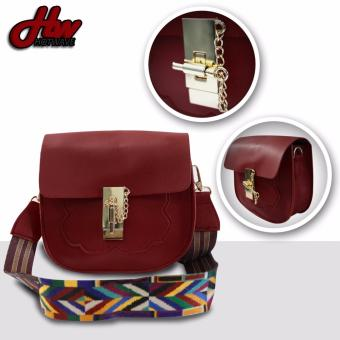 HW Leather ChainLock Sling Bag (Maroon)
