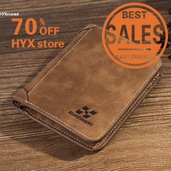 HYX HOT DEAL!!!Men PU Leather Coin Purse Pockets Card Holder Clutch Wallet(Coffee) - intl