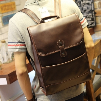 I casual Crazy Horse leather men's shoulder bag student school bag