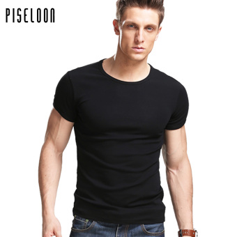 I cotton solid color men round neck bottoming shirt T-shirt (Black)