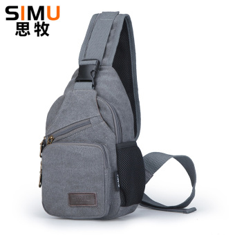 I Korean canvas men cross-body Shinebager shoulder bag (Gray)