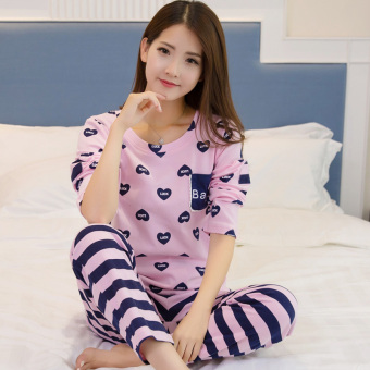 I Korean-style cotton women's Plus-sized tracksuit pajamas (8052)