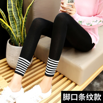 I Korean-style female stretch lettered pants leggings (Foot Mouth striped--black)