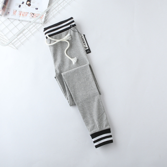 I Korean-style female waist string skinny pants New style bottoming pants (Light gray color)
