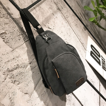 I New style men's messenger bag canvas chest pack (Small black)