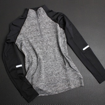 I outdoor yoga clothes jacket quick drying clothes fitness clothing (Gray)