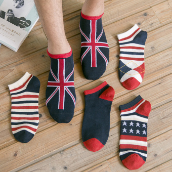 I retro men's summer thin striped no-show Socks (16-flag section 5 pairs loaded)