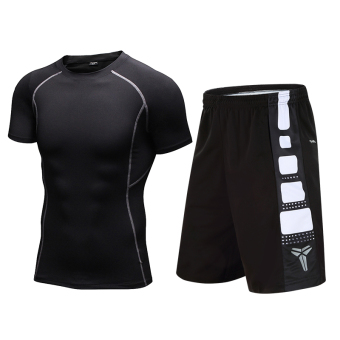 I stretch quick-drying compression short sleeved basketball shorts fitness clothes (Black short sleeved + 8814 black and white)