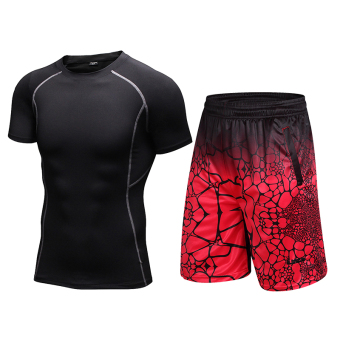 I stretch quick-drying compression short sleeved basketball shorts fitness clothes (Black short sleeved + 8815 red)