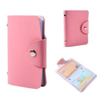 ID Business Card Holder PU Leather Pocket Wallet for 24 Cards (Pink) - intl