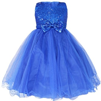 iEFiEL Fashion Kids Girl Wedding Bridesmaids Flower Tulle GirlsParty Pageant Dress Gown (color:Blue) - intl - 5