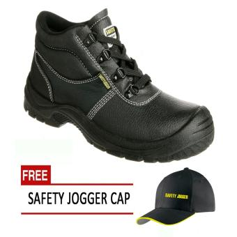 Harga Safety Jogger Safetyboy S1P High Cut Men Safety Shoes Footwear Steel Toe (Black) with Free Safety Jogger Cap