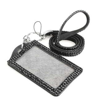 Harga Black Rhinestone Bling Crystal Lanyard Sling Vertical Card ID Badge Holder