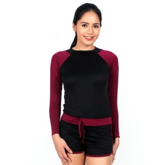 Island Paradise Rash Guard for Women (Maroon) Price Philippines