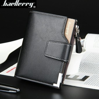 BYT Baellery Big Capacity Men Wallet Leather Vertical Leather Credit Card Holder With Zipper-129-2 (Black) Price Philippines