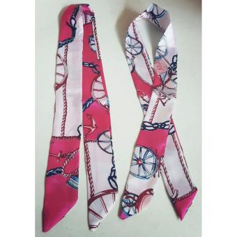 Jessica Silk Twilly Bag Scarf (Pink/White) Price Philippines