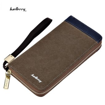 Baellerry Patchwork Canvas Portable Clutch Wallet for Men Vertical(Coffee) - intl Price Philippines