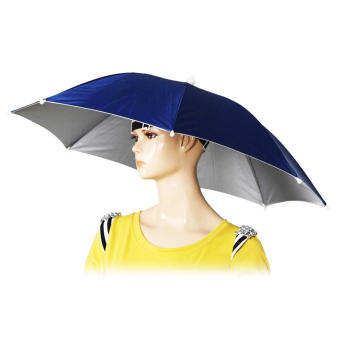 Harga Umbrella Outdoor Head Umbrella Hats Anti-UV Sun Rain (Blue)