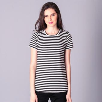 No Apologies Knitted Stripes S/S Blouse (White/Black) Price Philippines