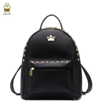 Harga North bag school wind shoulder bag rivets girls Korean version of the bag backpack leisure PU leather female bag
