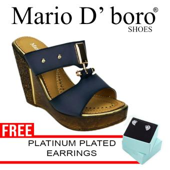 Harga Mario D' Boro Raqui Wedge (Navy Blue)