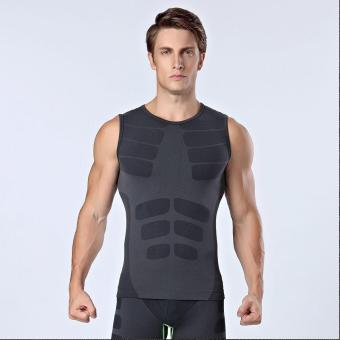 Harga Men Slimming Body Shaper Vest Compression T Shirt Sleeveless Shapewear Muscle Base Layer Tank Top - intl