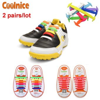 Harga Coolnice® 2 Pairs No Tie Shoelaces for Kids Funny DIY 2*12pcs- Elastic Stretch Environmentally Safe Waterproof silicone Wipe Clean- 2 Colors - Intl
