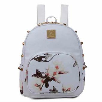 Harga New 2017 Tokyo Japan Korean Fashion Kylie Printed Backpack Womens Girls Fashion Bag with Studs (White)