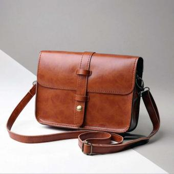 Harga Women Vintage Purse Bag Leather Cross Body Shoulder Messenger Bag Brown - intl